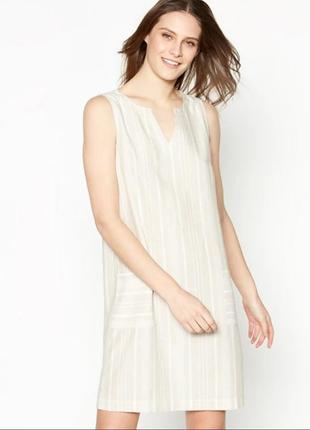 Нюдовое льняное платье сарафан-шифт