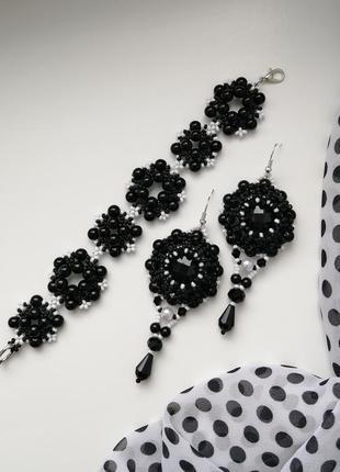 Комплект украшений серьги и браслет «black»