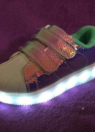 31-36р детские кроссовки со светящейся подошвой led хамелионы ...