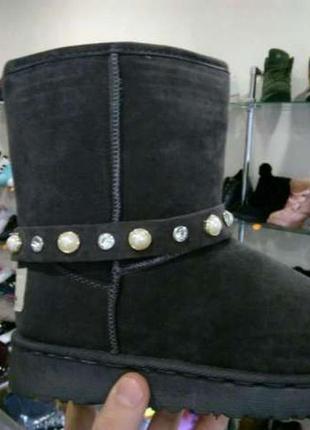 Распродажа женские серые угги уги со съемными браслетами ботинки