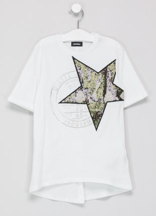 Новая футболка diesel оригинал белая в пайетках дизель со звездой