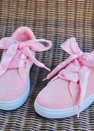 36-40 женские криперы кроссовки розовые ботинки с лентами бант...