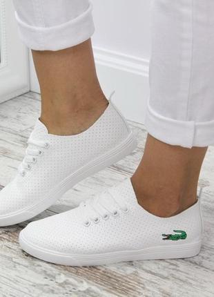 36-41 р акция! экокожанные белые кроссовки кеды туфли, мокасин...