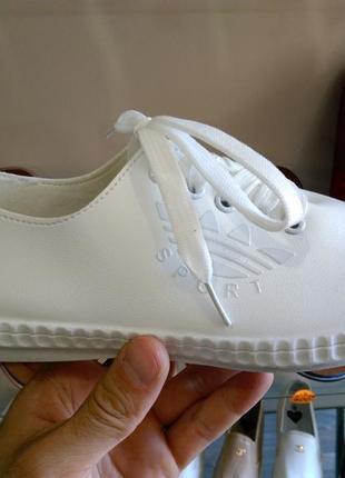 36-40 р акция! белые кроссовки кеды туфли, мокасины, слипоны э...