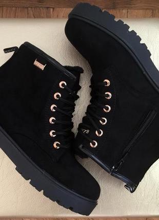 Sale женские зимние ботинки сапоги черные эко замшевые на низк...