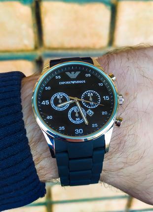 Часы мужские в стиле Armani. Мужские наручные часы черные