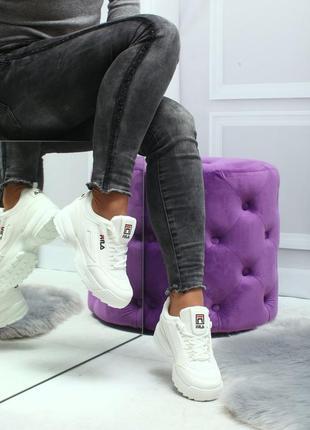 36-41р кроссовки кеды криперы фила белые