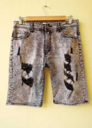Шорты мужские джинсовые jack berry с дырками бриджи