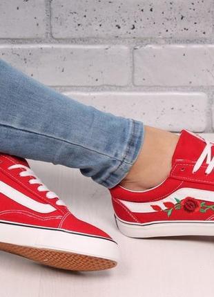 Красные кеды кроссовки с вышивкой