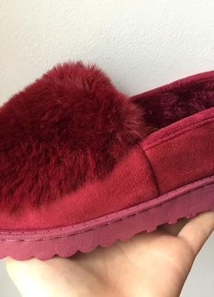 Угги слипоны ботинки тапочки на меху!бордовые!