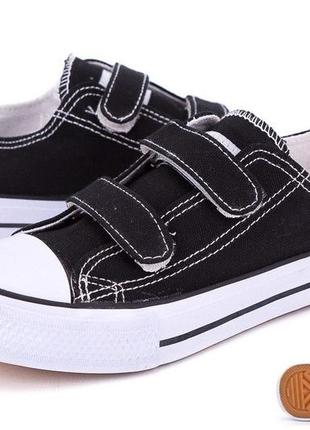 Черные кеды слипоны кроссовки на липучках