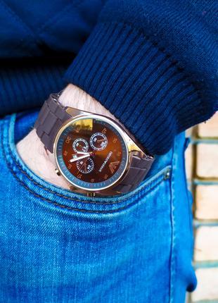 Часы мужские в стиле Armani. Мужские наручные часы коричневые