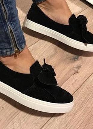Черные слипоны туфли мокасины! с бантами!
