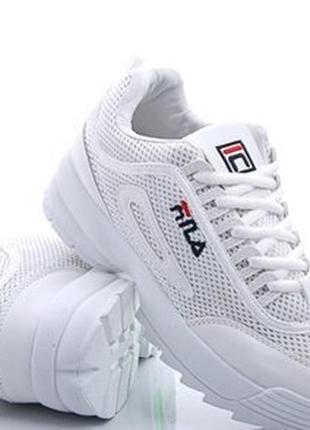 Белые кроссовки кеды фила!сетка!