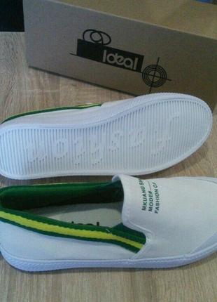 Белые слипоны кеды кроссовки мокасины!резиновый носок!зеленые ...