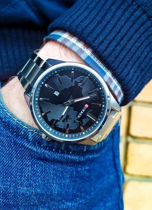 Часы мужские Curren. Мужские наручные часы серебристые