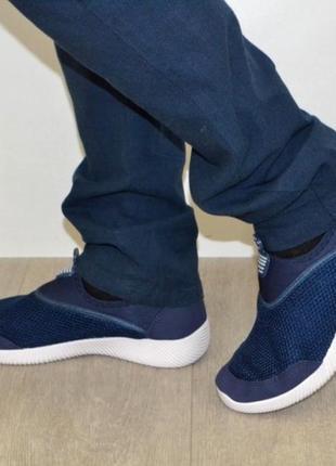 Синие мужские кеды мокасины слипоны кроссовки!текстиль сетка!