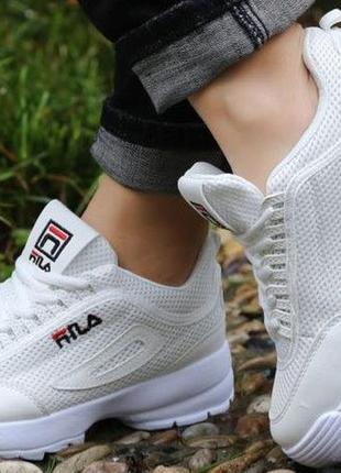 Белые кроссовки фила кеды криперы !летние!сетка!дышащие!