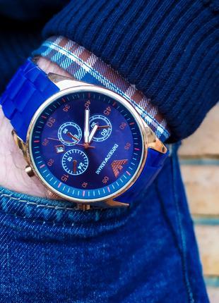 Часы мужские в стиле Armani. Мужские наручные часы синие