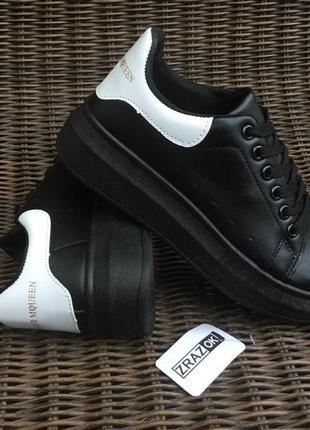 Черные  кеды в стиле alexander mcqueen кроссовки туфли на плат...