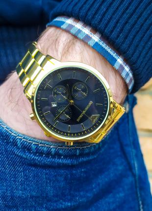 Часы мужские в стиле Armani. Мужские наручные часы золотистые