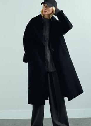 Стильное пальто zara  оверсайз черного цвета