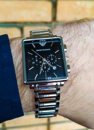 Часы мужские в стиле Armani. Мужские наручные часы серебристые
