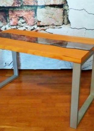 Стол река журнальный кофейный из натурального дерева в стиле лофт