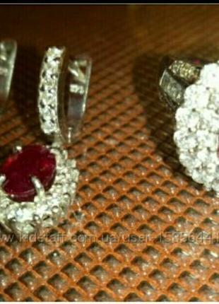 Набор  серебро 925, серьги и кольцо с натуральными рубинами