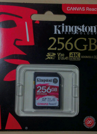 Карта памяти SDXC Kingston 256Gb canvas react
