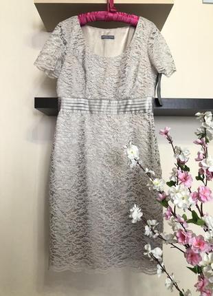Вечернее кружевное платье миди с люрексом