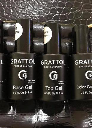 Набор гель-лаков Grattol (база, праймер, топ, цвет)