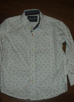 Фирменная нарядная рубашка мальчику 2-3 лет хлопок идеал с яко...