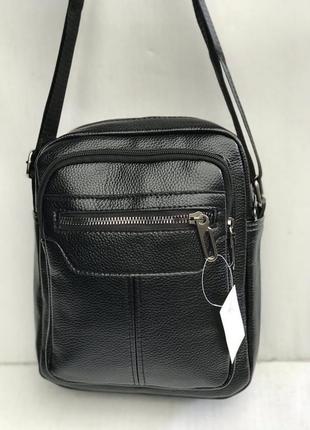 Кожаная мужская сумка через плечо барсетка.