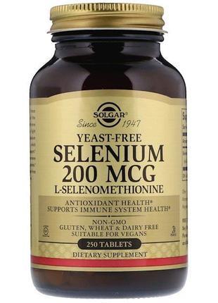 Solgar Селен без дрожжей, Selenium yeast free, 200 мкг, 250 табл.