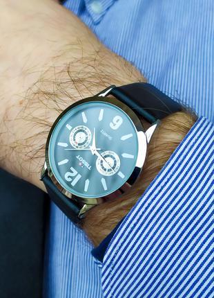 Часы мужские в стиле Tissot. Мужские наручные часы черного цвета