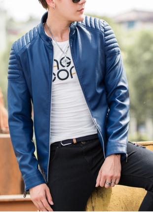 Кожаная куртка синяя, мотоциклетная, курточка, кожанка, новая
