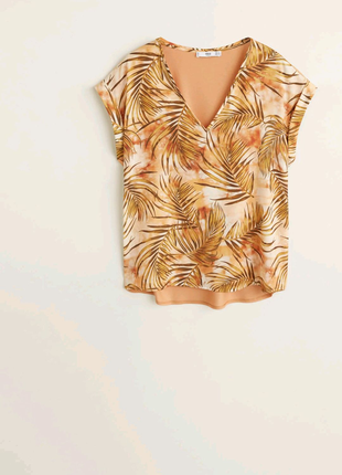 Блуза, футболка, атлас, манго