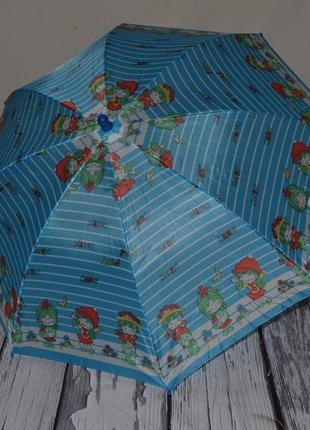 Зонтик зонт трость детский со свистком разные синий с девочками