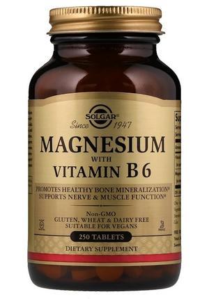 Solgar Магний с витамином В6, Magnesium with vitamin B6, 250 табл