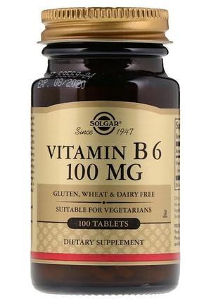 Solgar Витамин В6, Vitamin B6, 100 мг, 100 таблеток