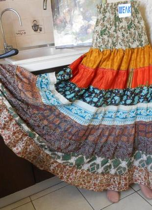 #цветастая индийская широкая юбка в пол из шелка #юбка воланы #
