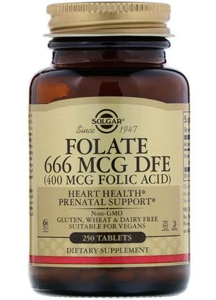 Solgar Фолиевая кислота Folate, Folic acid, 400 мкг, 250 таблеток