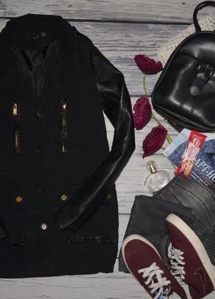 S женская курточка куртка деми пальто парка с кожаными рукавами