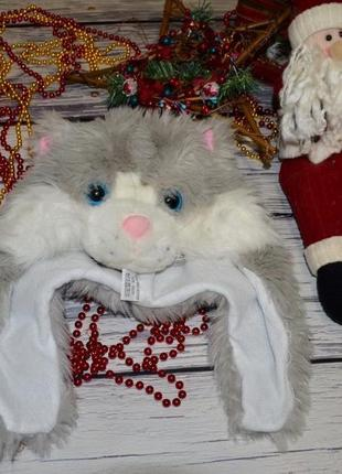 Карнавальная шапка ушанка котик кот котенок