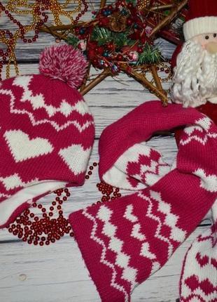 8 - 12 лет фирменный набор девочке шапка с шарфом девочке серд...