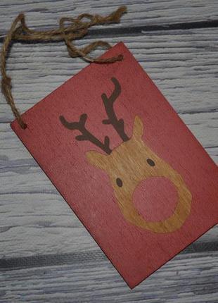 Фирменная табличка декор деревянная с рисунком оленя нг нового...