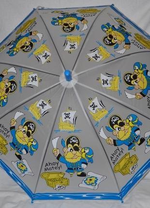 Зонтик зонт для девочки с яркими пиратами матовый полу прозрач...