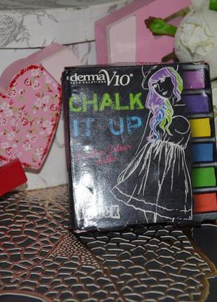 Временные мелки для волос derma v10 chalk it up rainbow hair c...