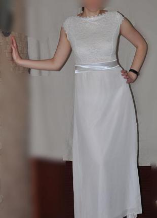 Нарядное белое платье в пол, свадебное, вечернее, выпускное, л...
